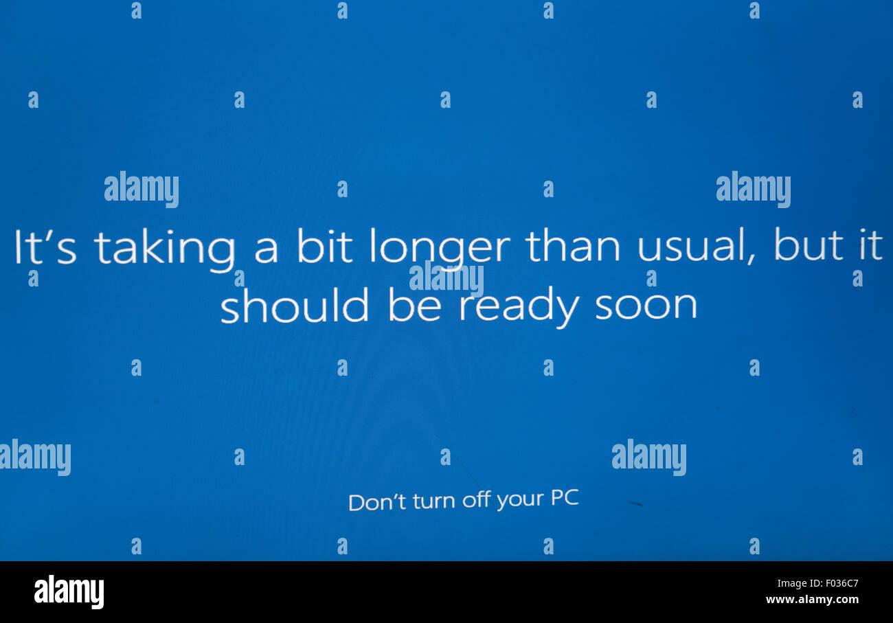 Installation of Microsoft windows 10 - Stock Image