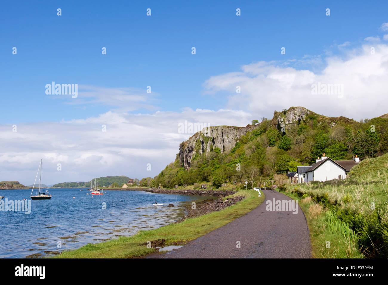 Ardbhan Craigs on coast road from Gallanach beside Sound of Kerrera near Oban, Argyll and Bute, Scotland, UK, Britain - Stock Image