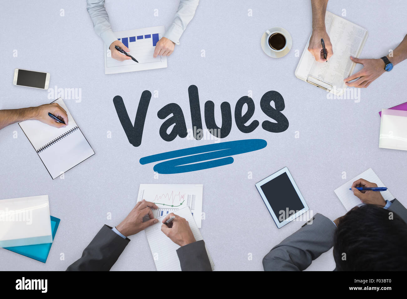 Values against business meeting - Stock Image