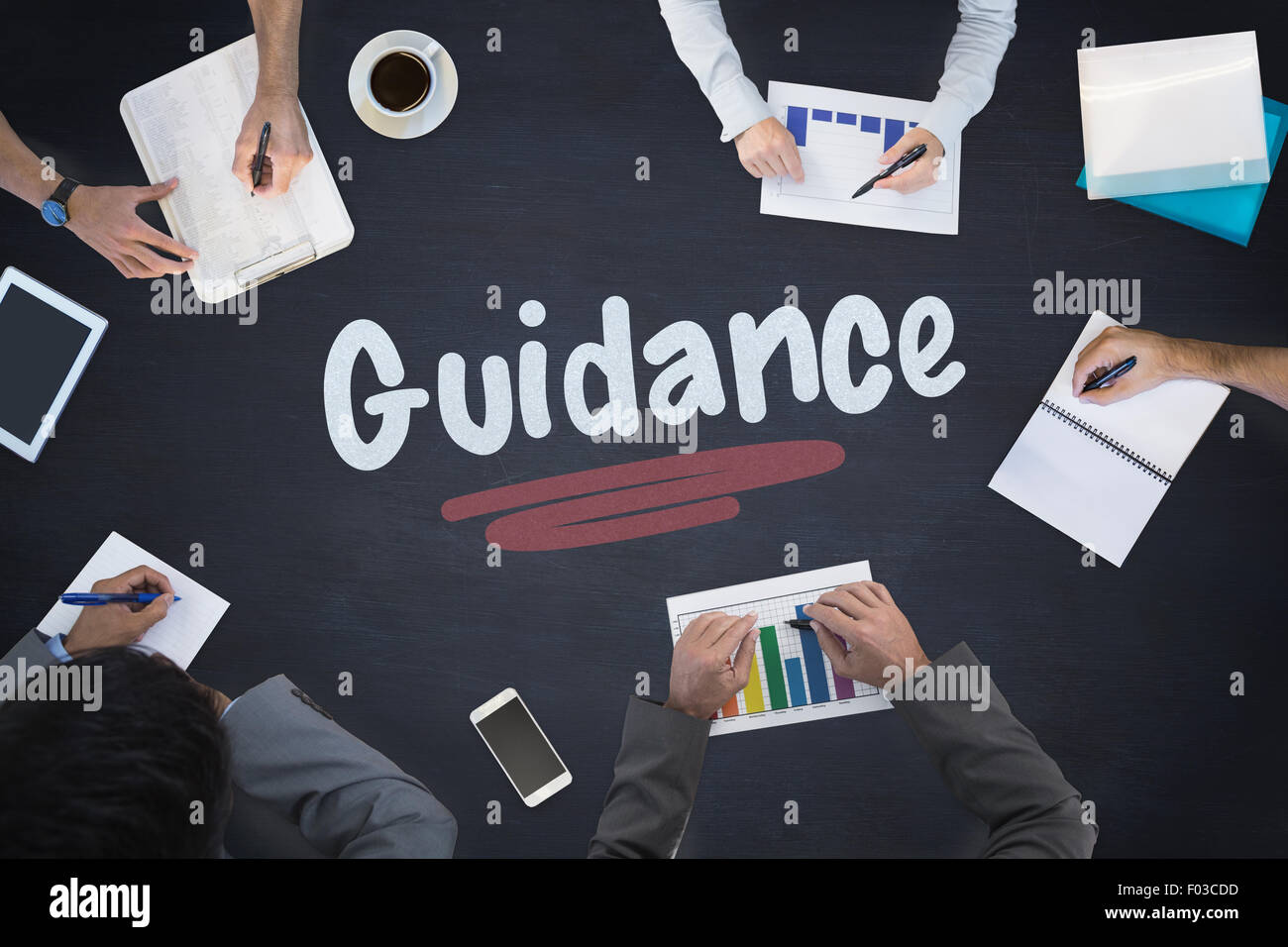 Guidance against blackboard - Stock Image
