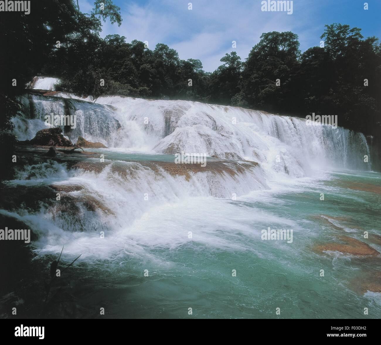 Mexico - Chiapas - Lacandon Rainforest - Agua Azul Falls of Tulija River - Stock Image