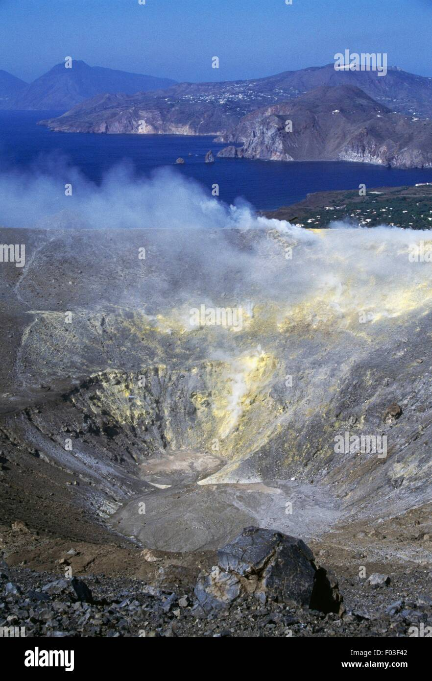 Fumaroles from Gran Cratere (The Great Crater) or Fossa di Vulcano on the island of Vulcano, Aeolian Islands or Stock Photo