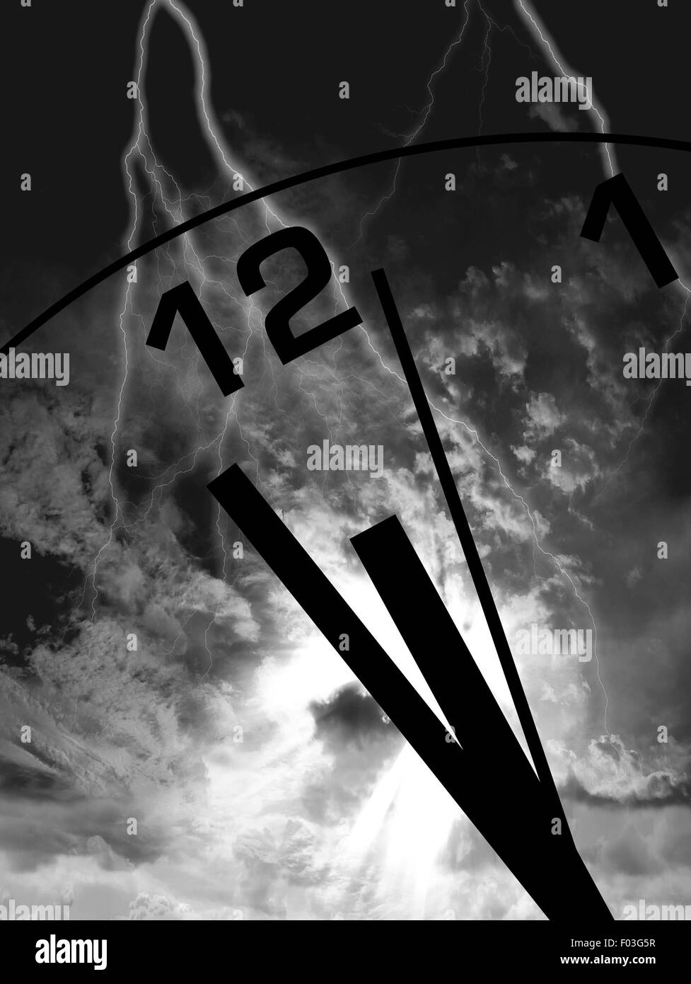 Ominous clouds gather as lightning strikes the clock as it hits midnight - Stock Image