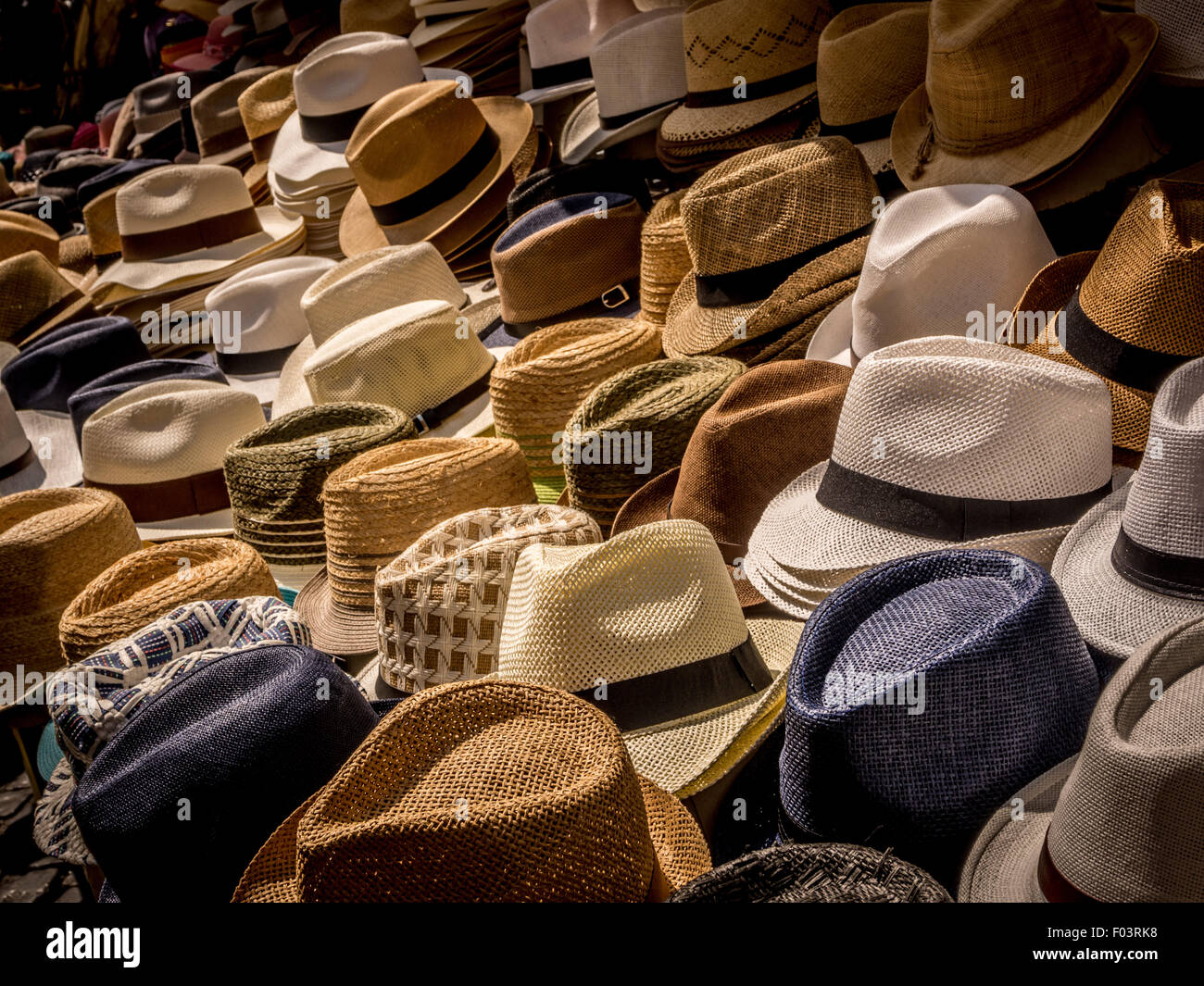 74862a0b2417e3 Stall selling men's straw trilby style hats. Campo de' Fiori outdoor food  market in Rome., Italy.