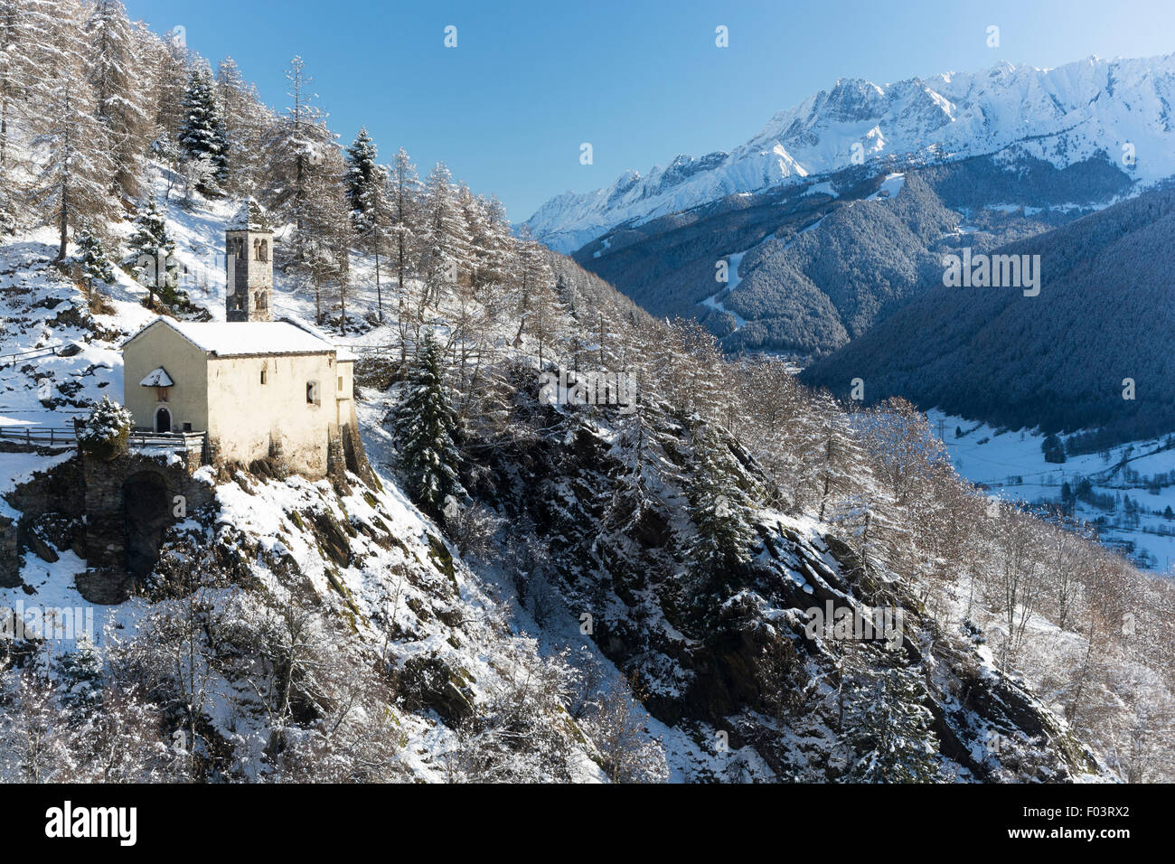 Italy, Lombardy, Retiche Alps, Camonica Valley, the ancient alpine church of San Clemente Stock Photo