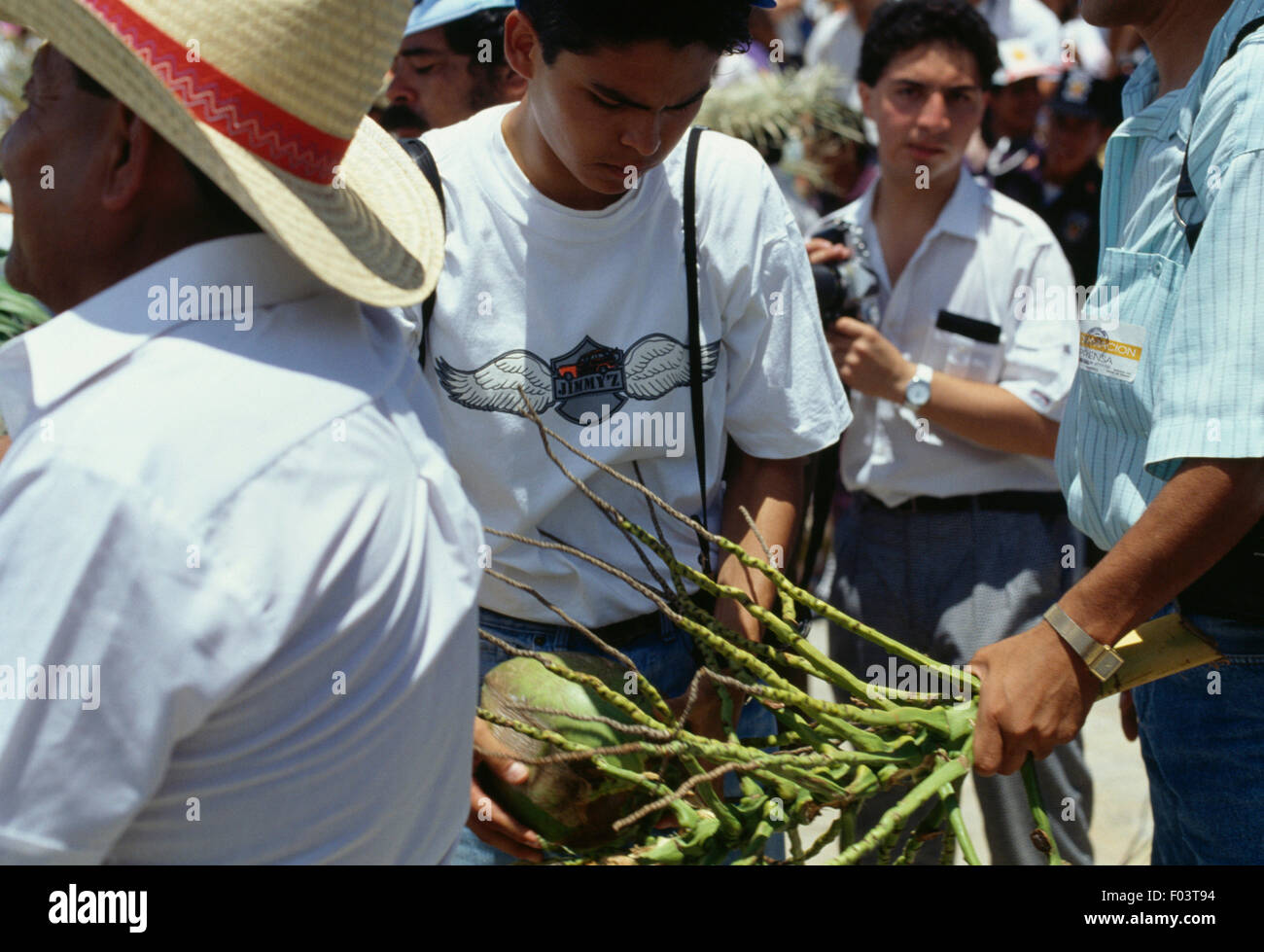 A man with the gifts he received during the celebrations at the Guelaguetza festival, Oaxaca, Mexico. Stock Photo