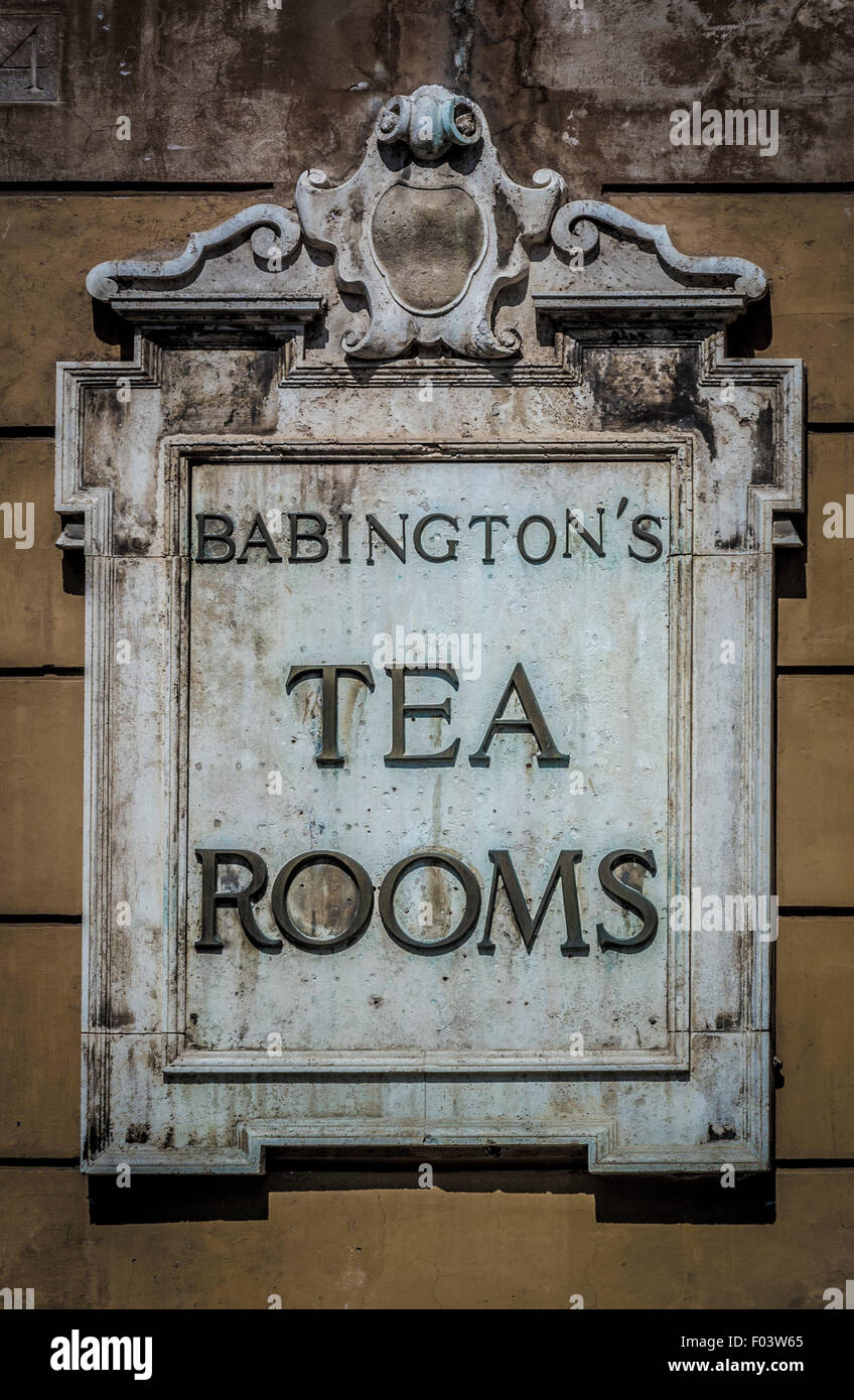 Tea Room sign in Rome. Italy. - Stock Image