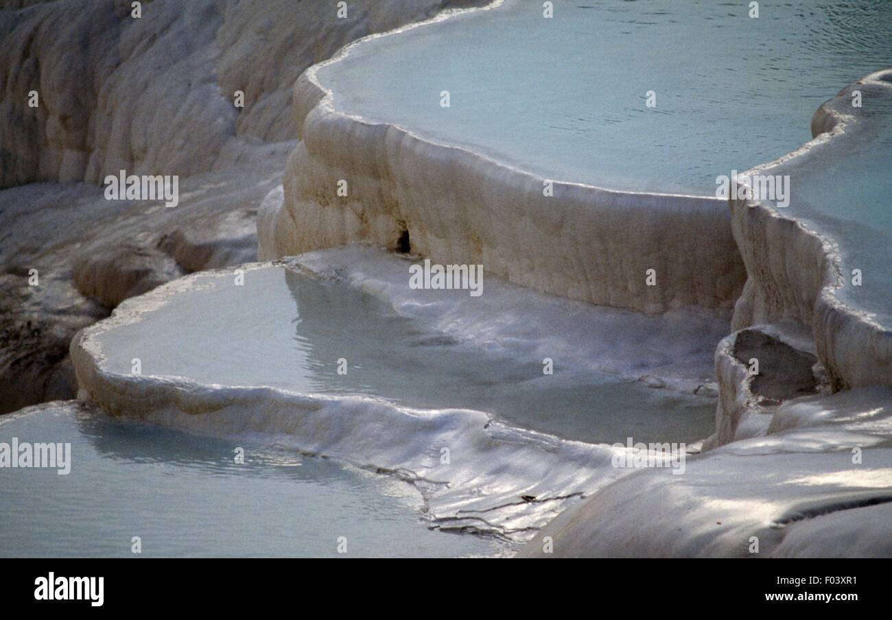 The natural pools of carbonate minerals left by thermal waters, Pamukkale (Unesco World Heritage List, 1985), Denizli - Stock Image