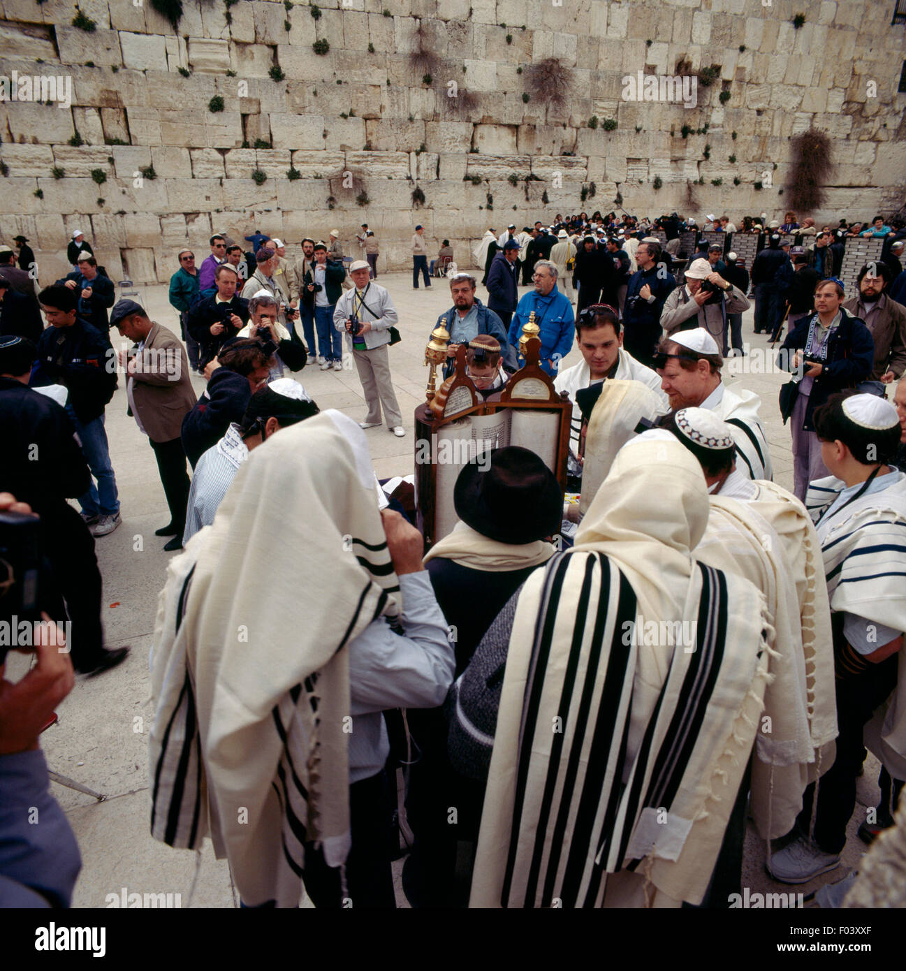 Bar Mitzvah being celebrated in front of the Wailing Wall (Western Wall), Jerusalem, Israel. - Stock Image