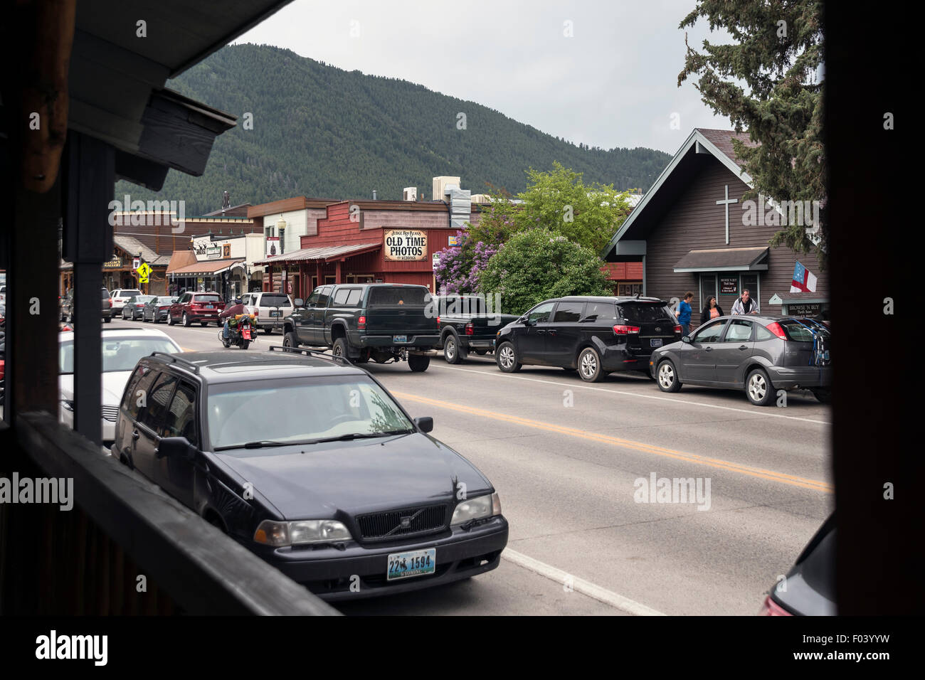 View on Jackson street from wooden terrace, Wyoming,  USA - Stock Image