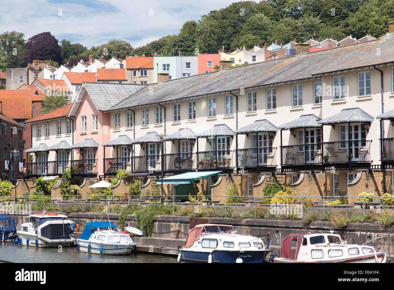 Apartments overlooking Bristol Harbour, England, UK - Stock Image