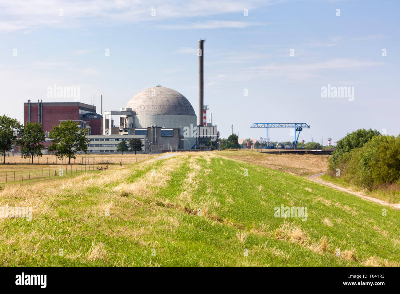 Defunct nuclear power plant at Stade on the Elbe river, Lower Saxony - Stock Image