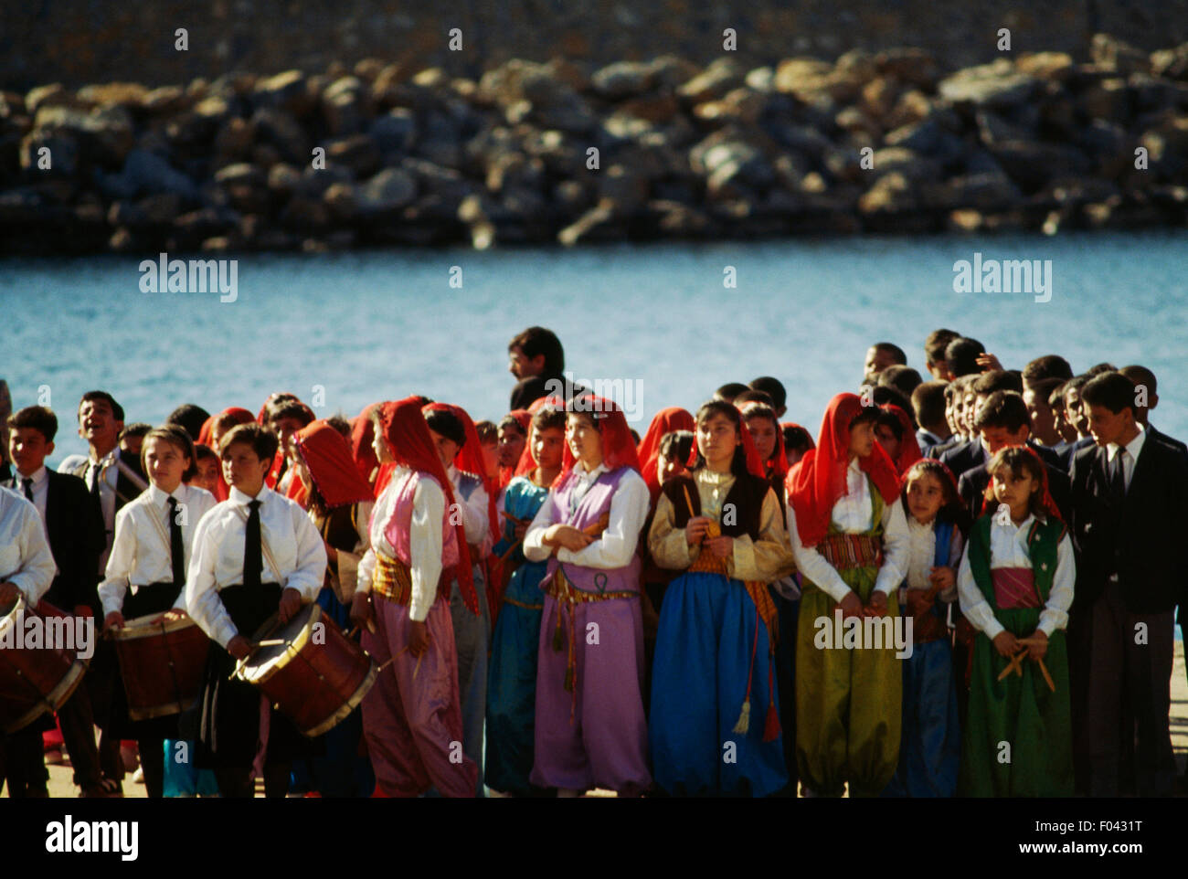 Boys and girls at the celebrations for National Sovereignty and Children's Day (April 23), Anamur, Turkey. Stock Photo