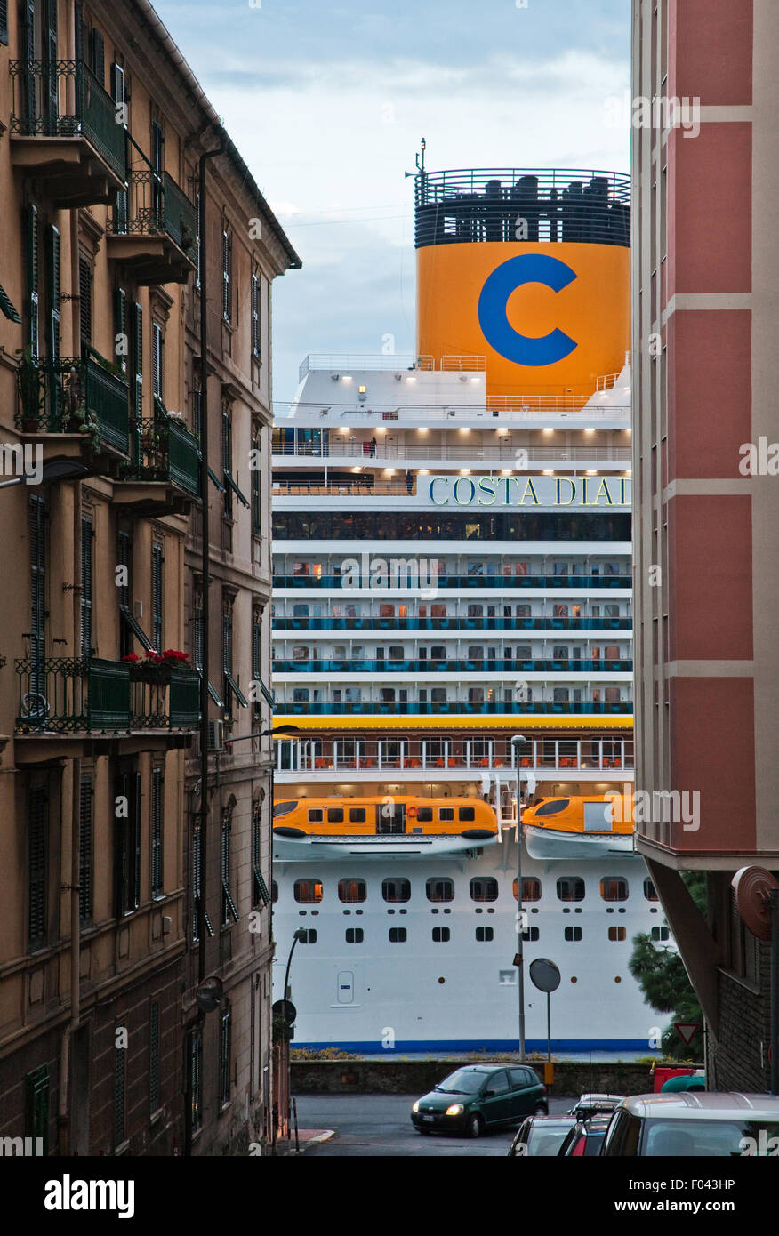 the cruise ship in the midst of the houses Stock Photo