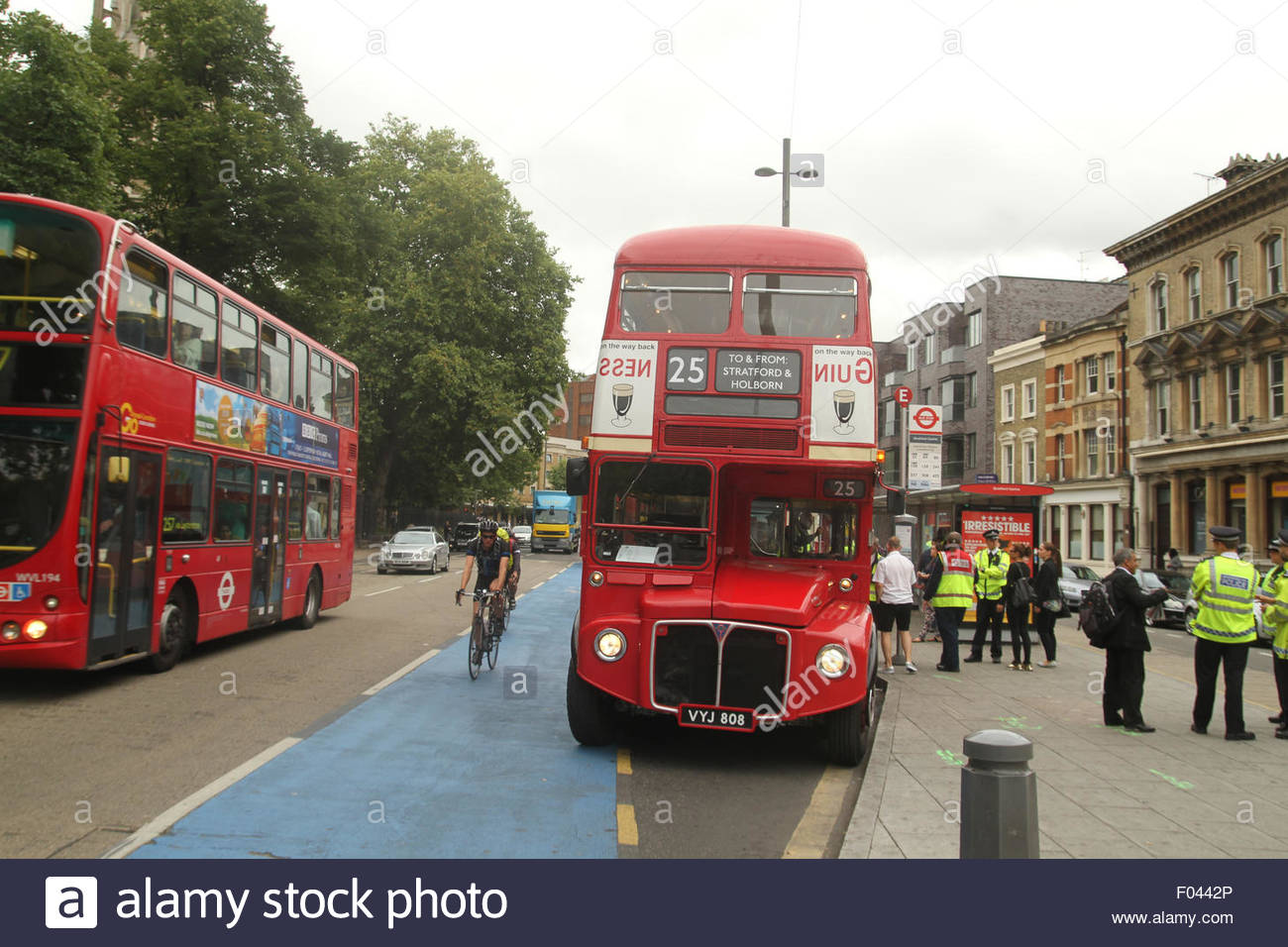London, UK. 6th Aug, 2015.  Old routemaster An extra 250 buses, including the older routemaster models, were added - Stock Image