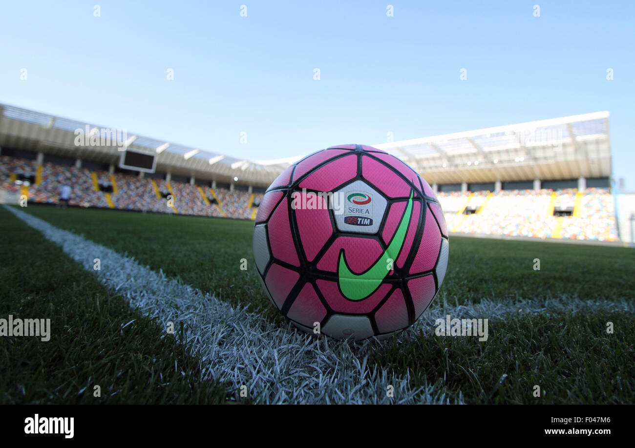 Udine, Italy. 5th Aug, 2015. Official ball of italian Serie A 2015 2016 during the friendly pre-season football - Stock Image