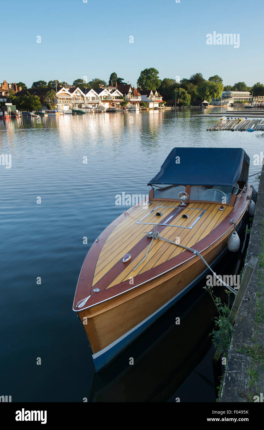 Slipper launch boat moored on the river thame at Henley On Thames, Oxfordshire, England - Stock Image