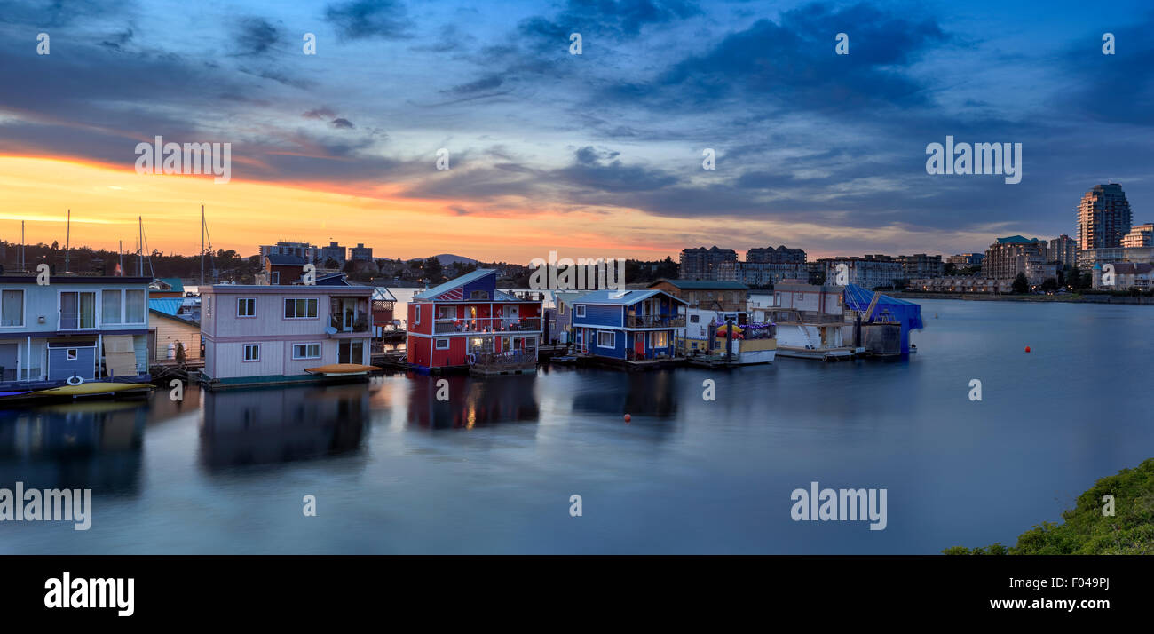 Sunset over Fisherman's Wharf floating homes-Victoria, British Columbia, Canada. - Stock Image