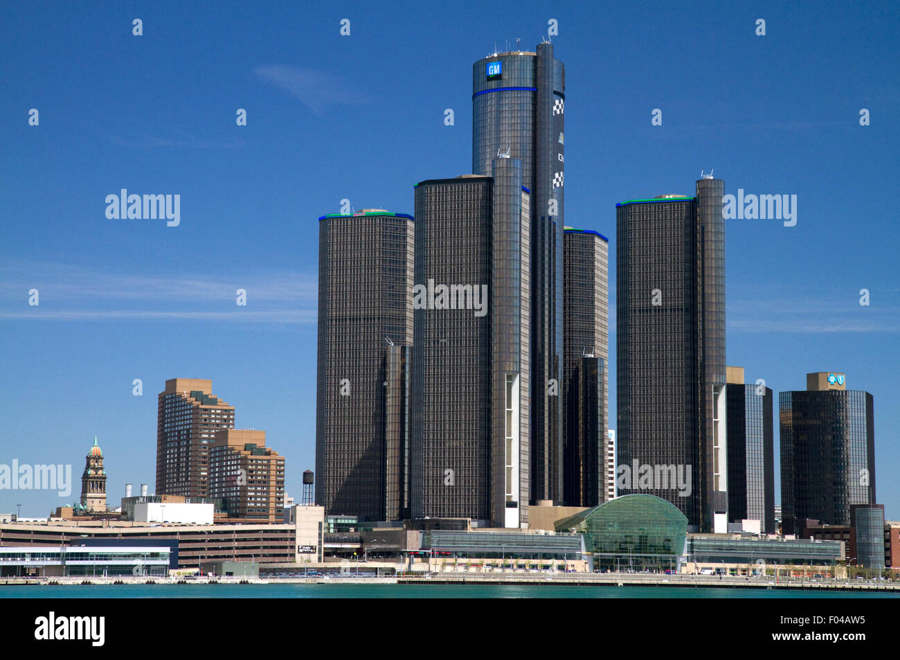 The GM Renaissance Center on the Detroit International Riverfront, Michigan, USA. - Stock Image