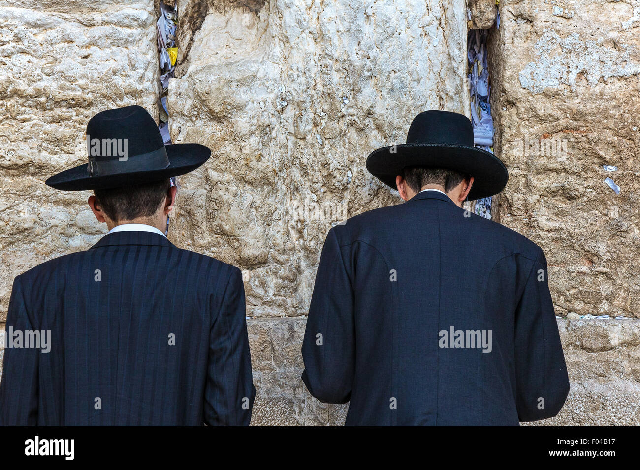 Israel, Jerusalem, orthodox jews in prayer at the Western Wall - Stock Image