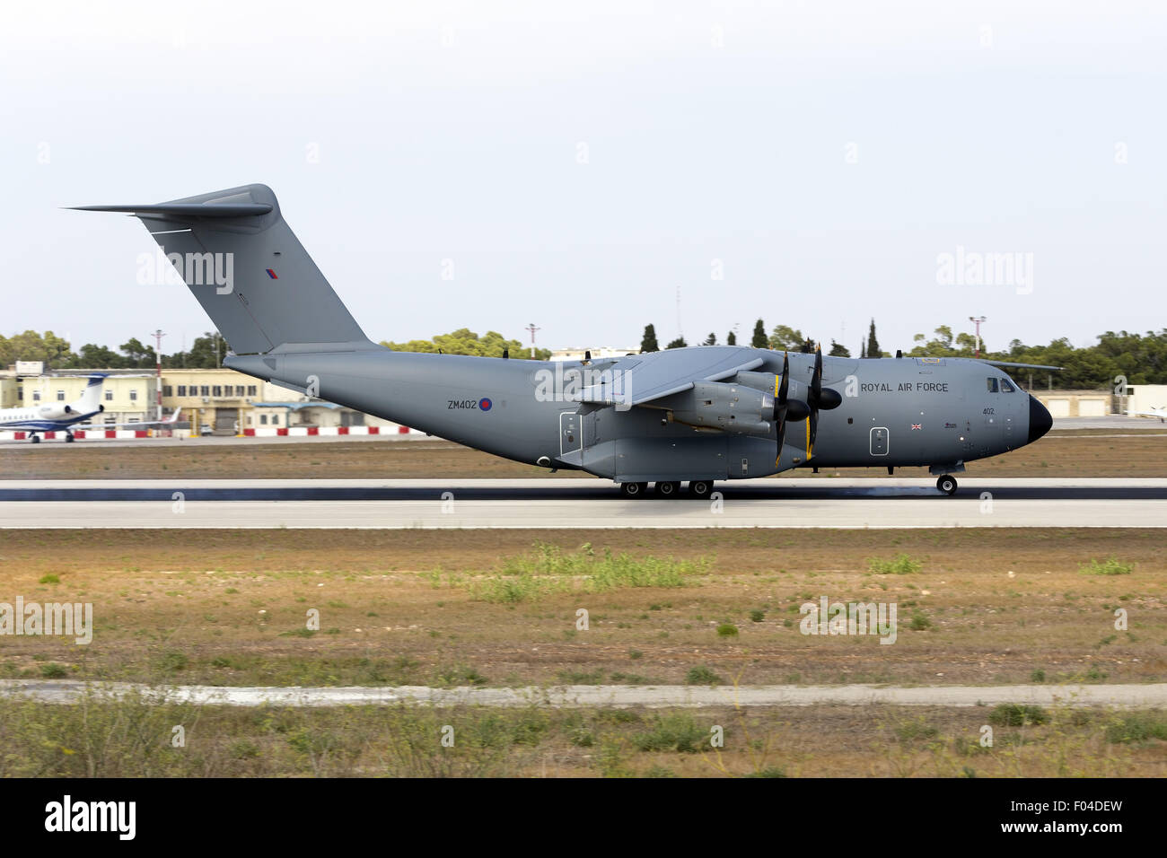 First ever Airbus A400M in Malta, Royal Air Force RAF ZM402. - Stock Image