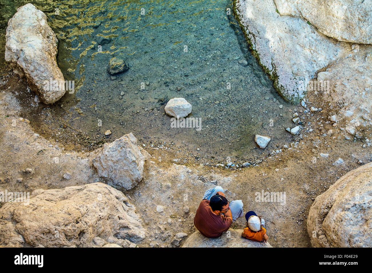 Israel, Jerusalem, people in the En Gedi natural reserve - Stock Image