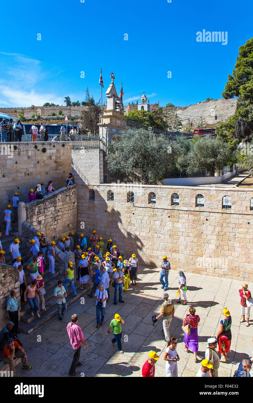 Israel, Jerusalem, people in  the Mary's Tomb Church - Stock Image