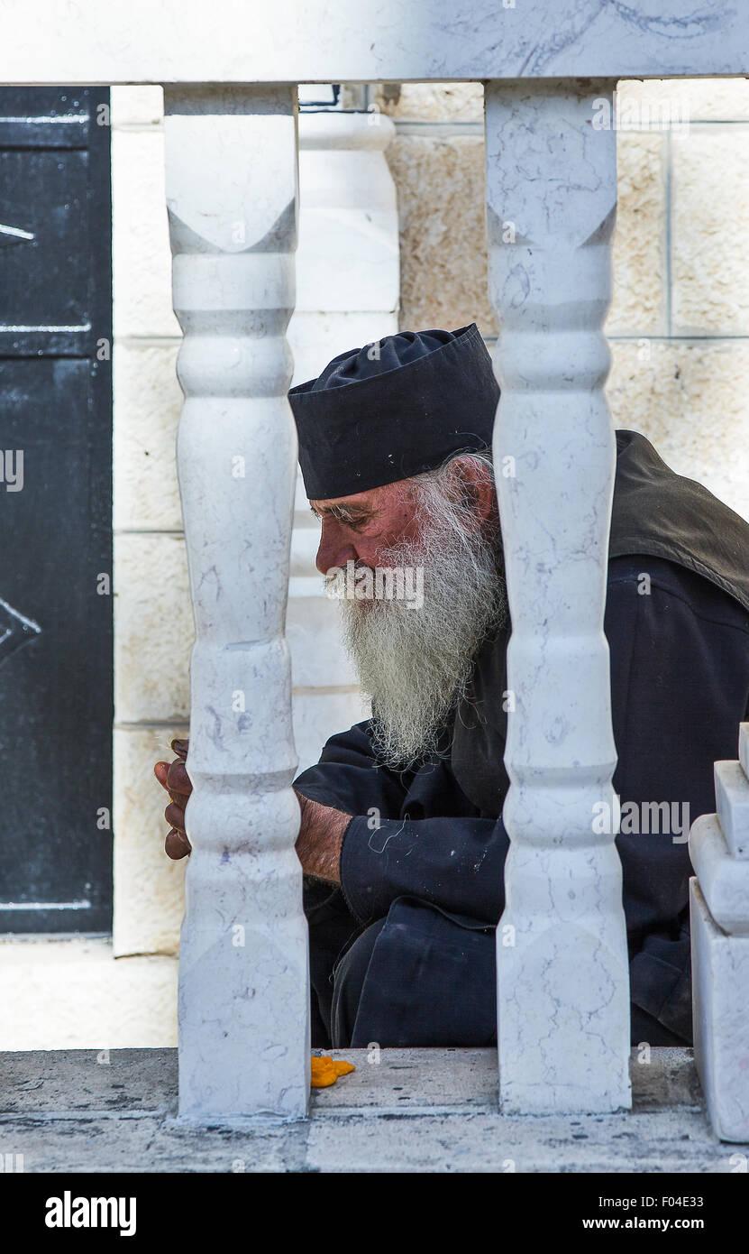 Israel, Jerusalem, a monk near the Mary's Tomb Church - Stock Image
