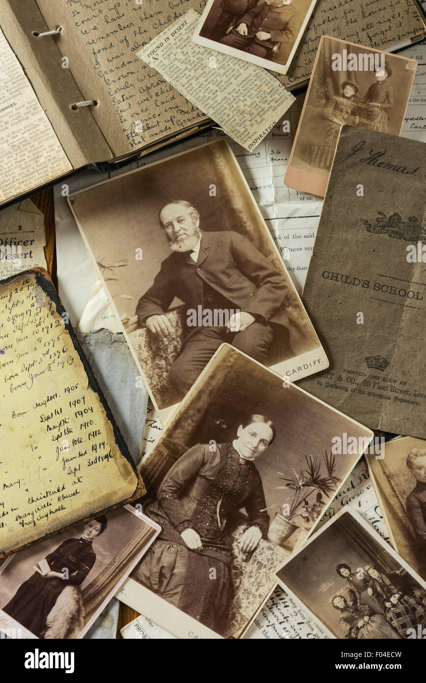 Family trees. Genealogy. Photos and documents - Stock Image