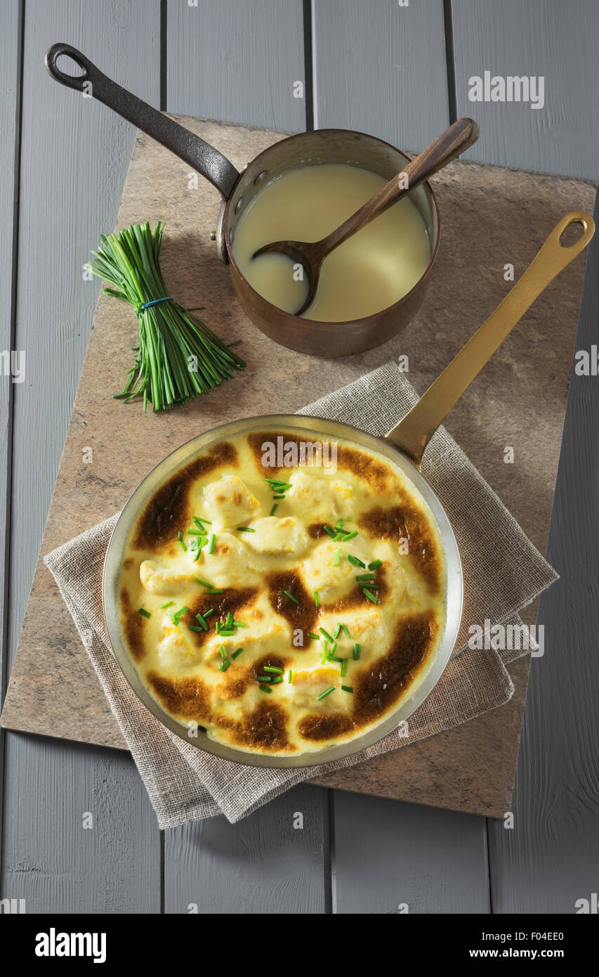 Omelette Arnold Bennett with smoked haddock. - Stock Image