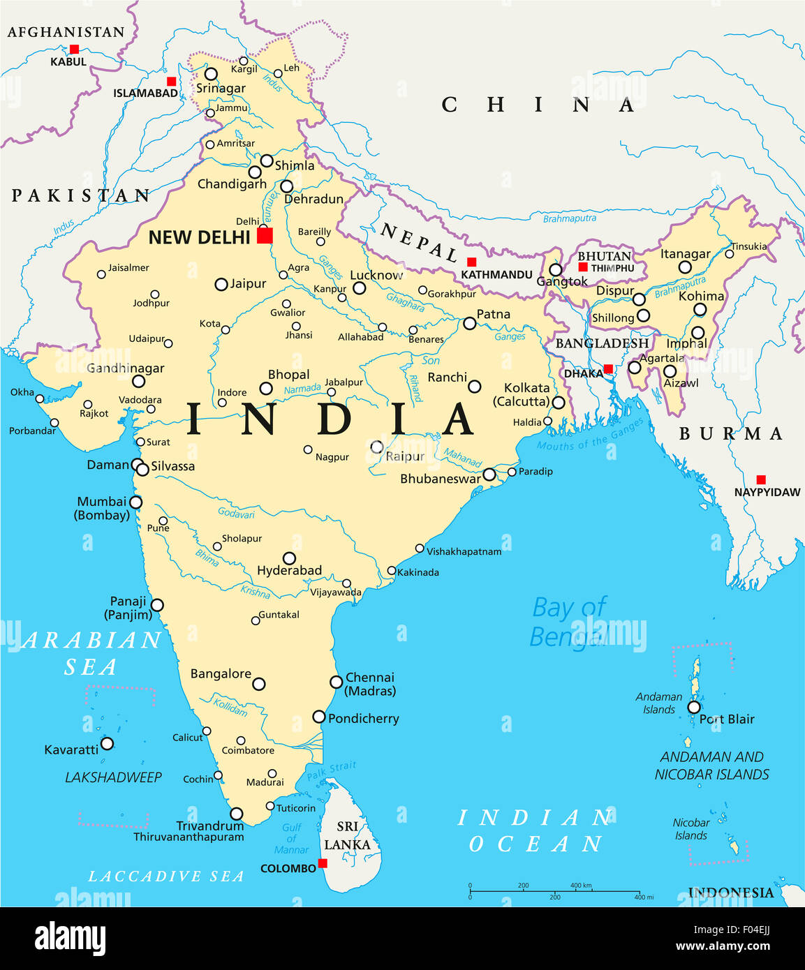 New Delhi India Map India political map with capital New Delhi, national borders Stock