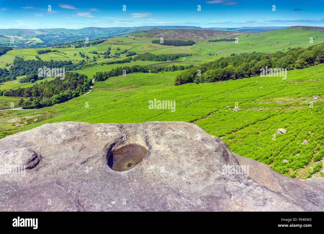 View west from gritstone cliff of Stanage Edge, Peak District, National Park, Derbyshire, with water filled pothole - Stock Image