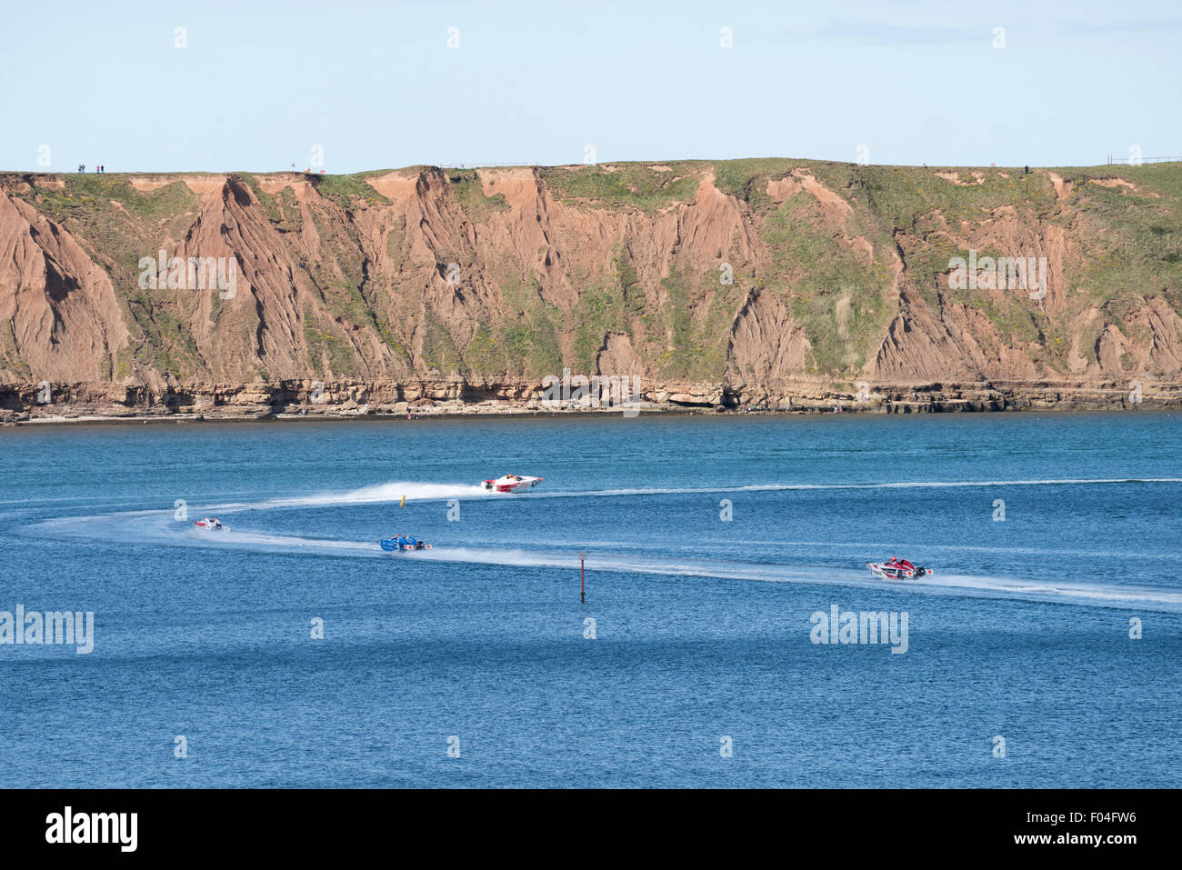 P1 Superstock Powerboat Racing visiting Filey Bay, North Yorkshire. - Stock Image
