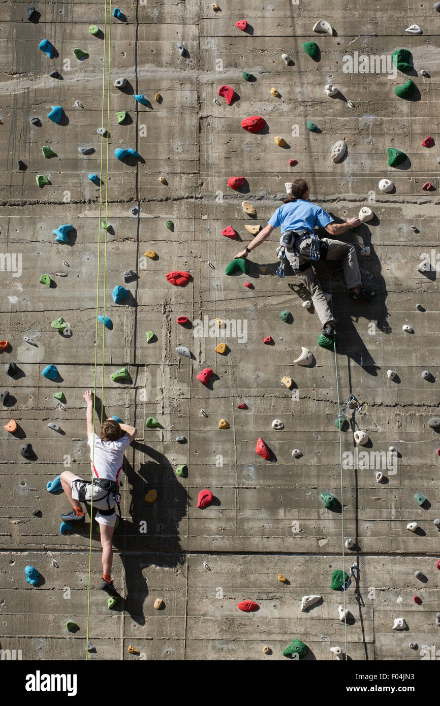 climbing wall, nazi flack tower 6th district vienna,spring - Stock Image