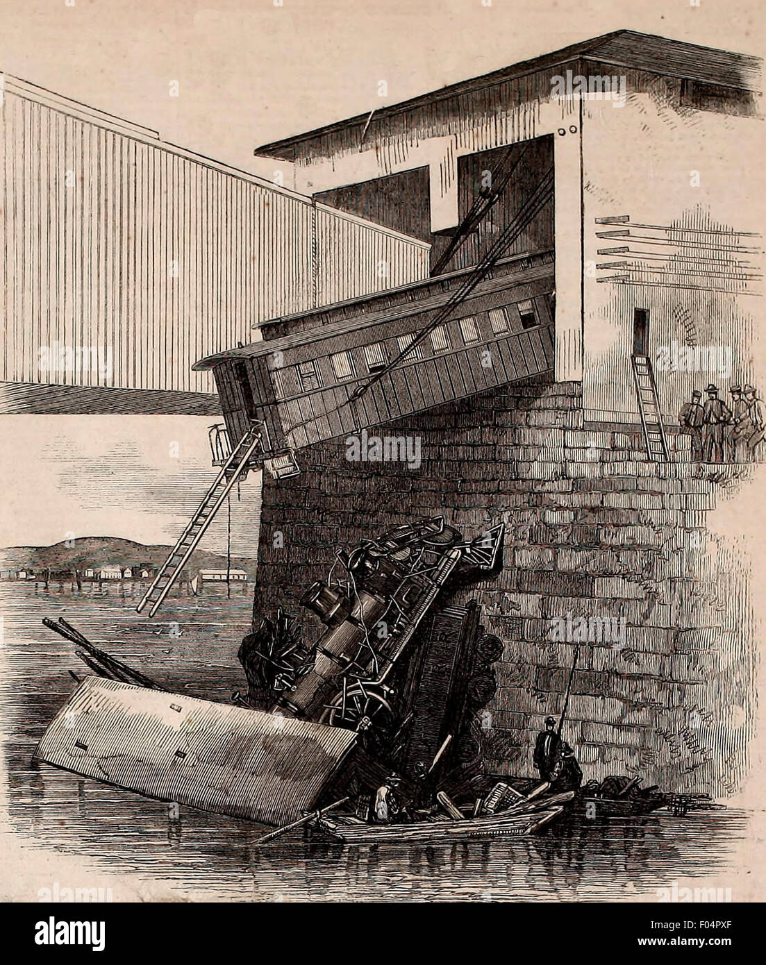 Startling accident at the draw bridge of the Rensselaer and Saratoga Railroad, Federal Street, Troy NY, Saturday, - Stock Image