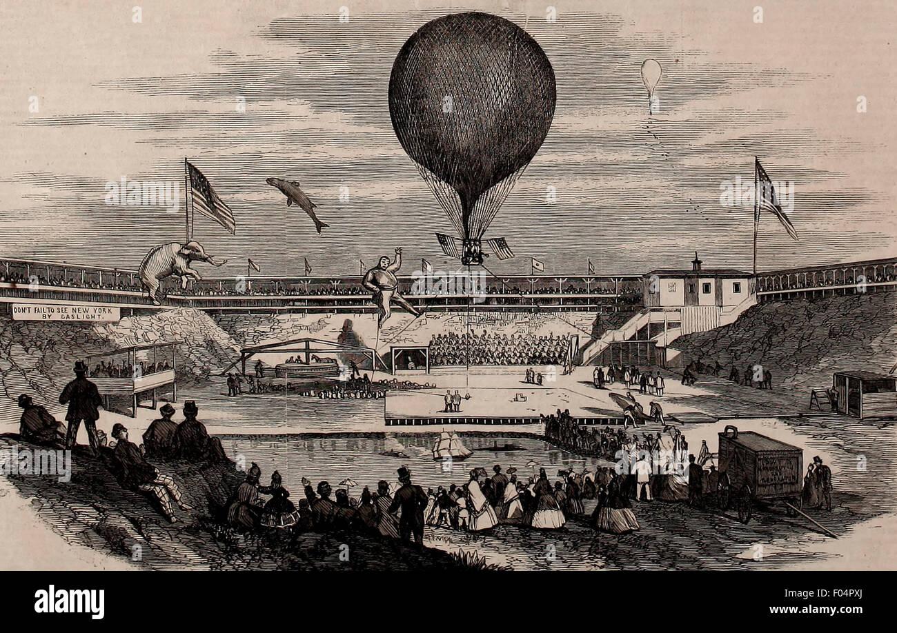 Professor Lowe's Aeronautic Ampitheatre, Corner of 59th Street and Sixth Avenue, NY  1865 - Stock Image