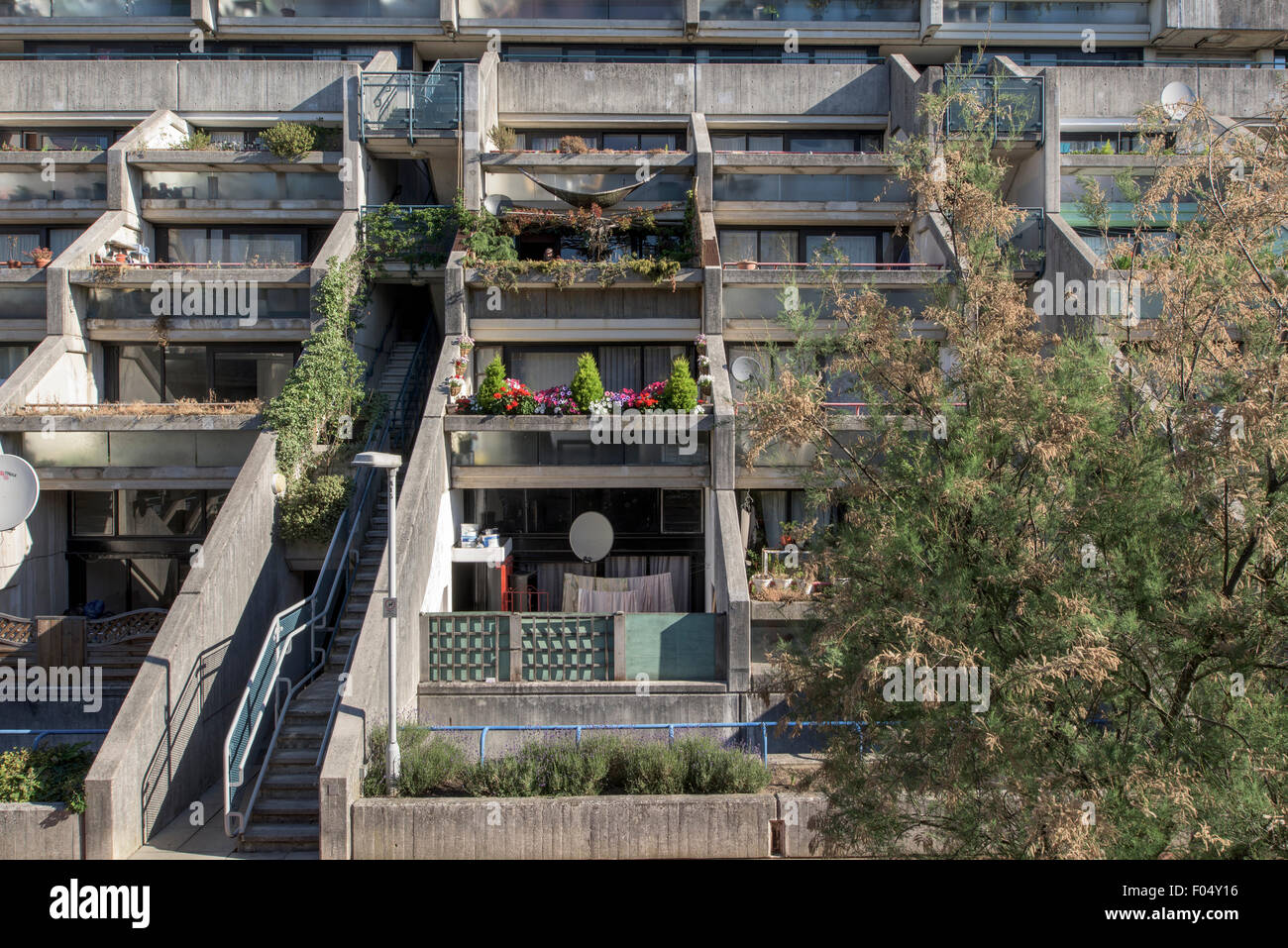 View showing ziggurat balconies, Alexandra Road Estate. Alexandra Road Estate, Camden, United Kingdom. Architect: Stock Photo