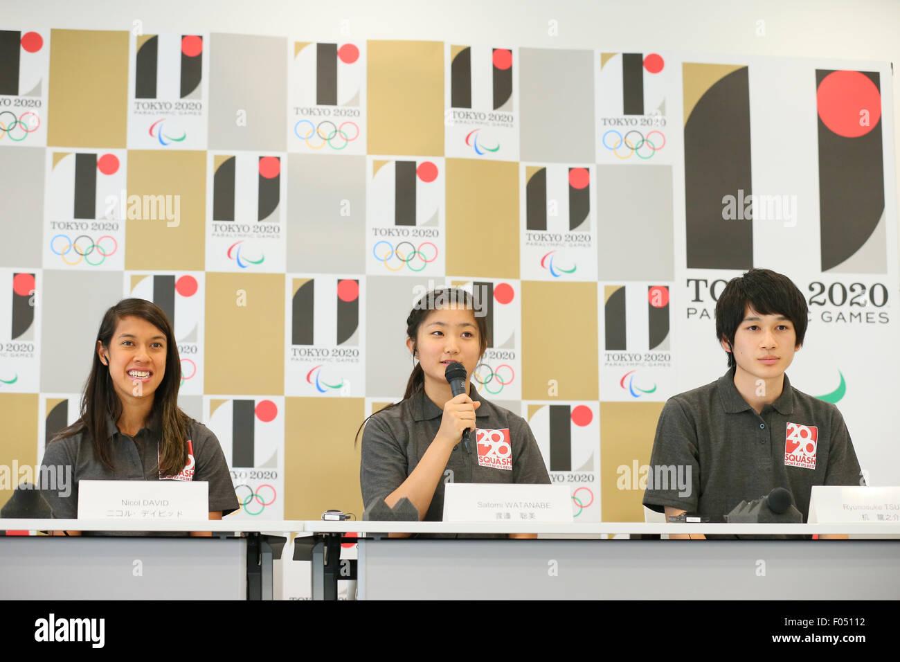 (L to R) Nicol David, Satomi Watanabe, Ryunosuke Tsukue, AUGUST 7, 2015 : World Squash Federation (WSF) holds a - Stock Image
