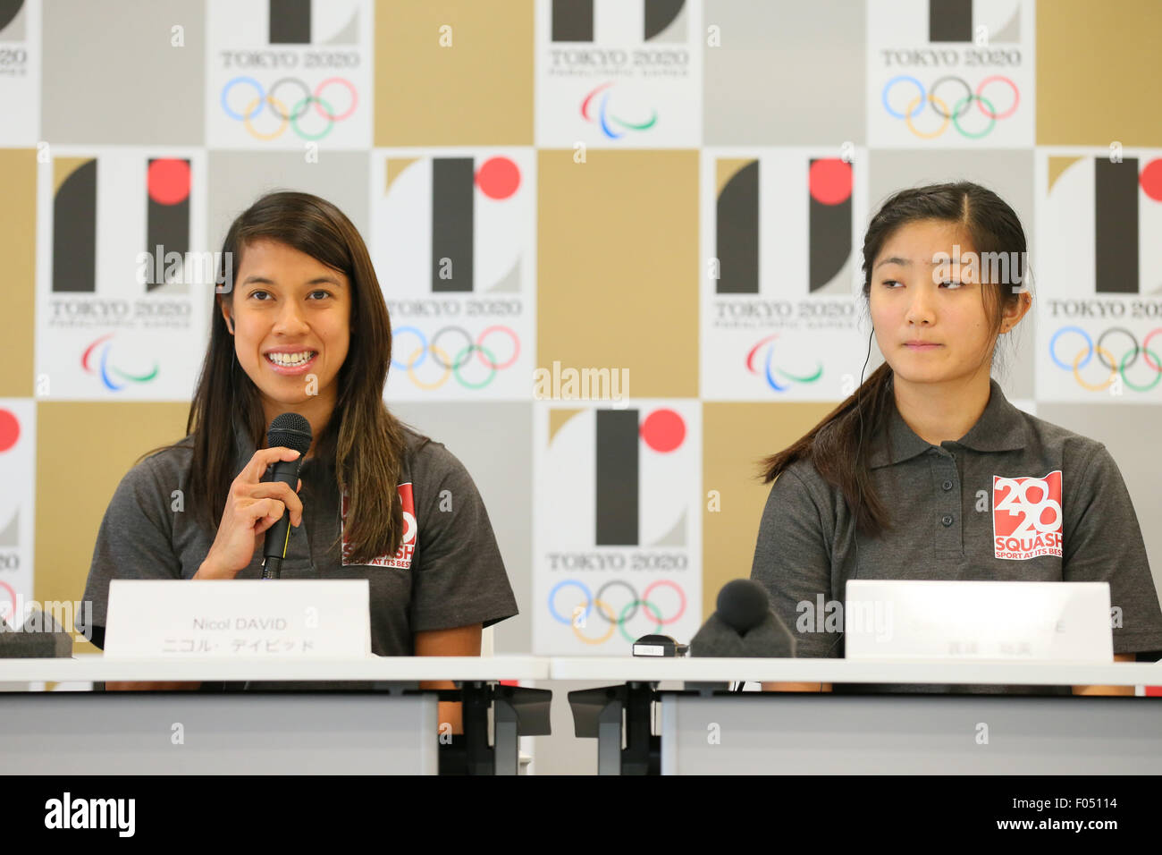 (L to R) Nicol David, Satomi Watanabe, AUGUST 7, 2015 : World Squash Federation (WSF) holds a media conference following - Stock Image
