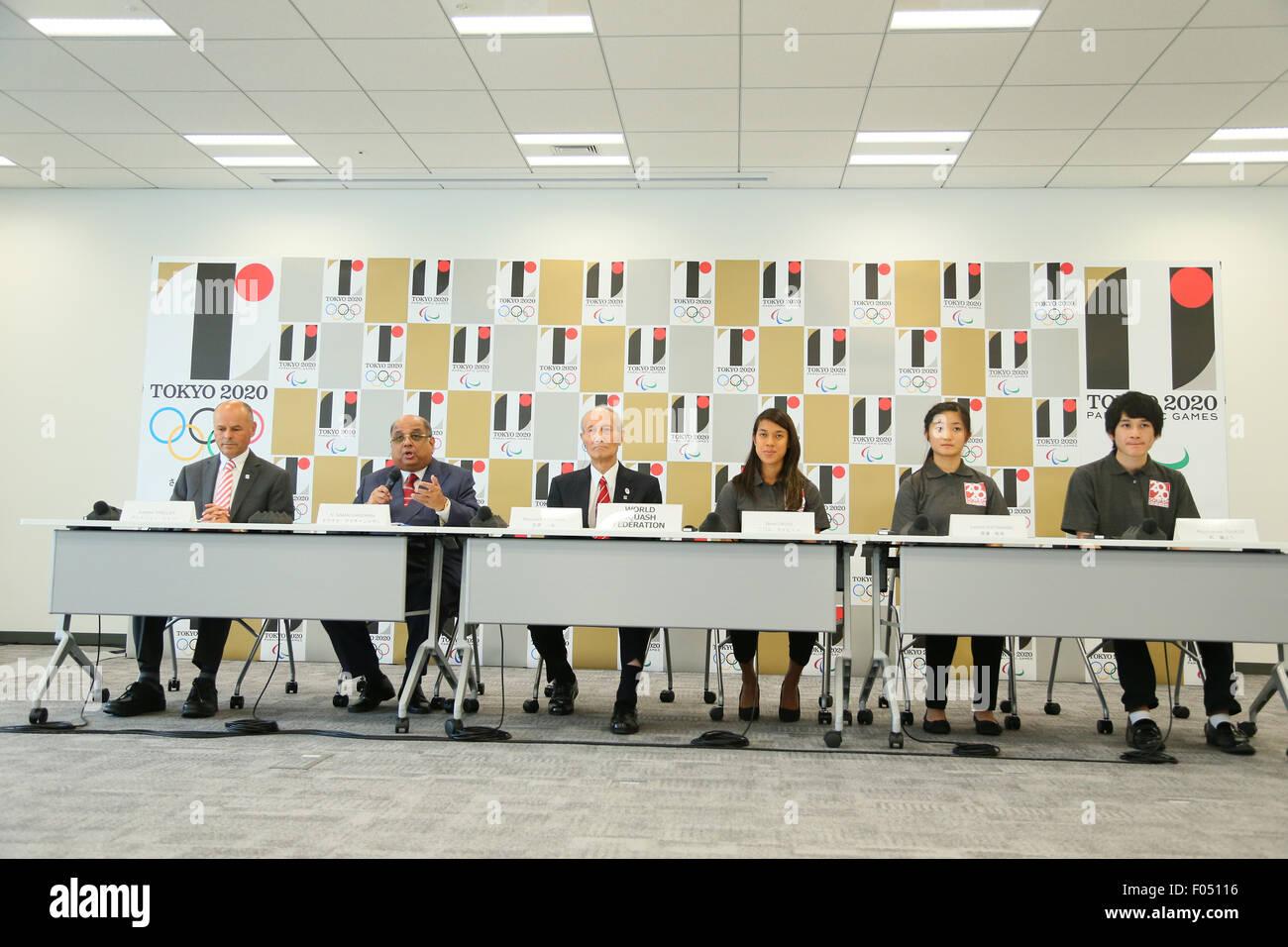 (L to R) Andrew Shelley, Narayana Ramachandran, Kazuya Kasahara, Nicol David, Satomi Watanabe, Ryunosuke Tsukue, - Stock Image