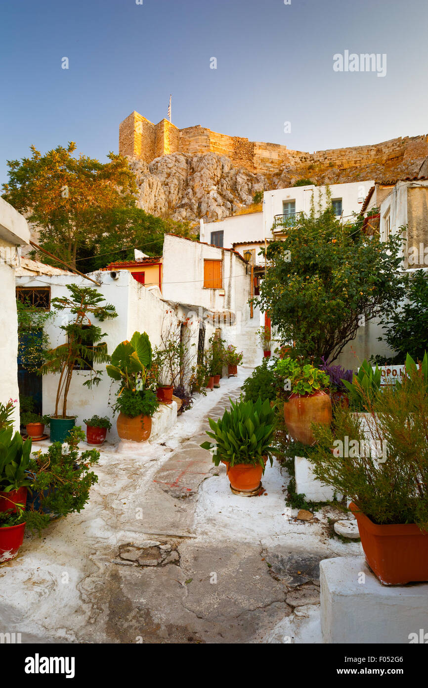 Acropolis as seen from the streets of Anafiotika, Athens, Greece - Stock Image