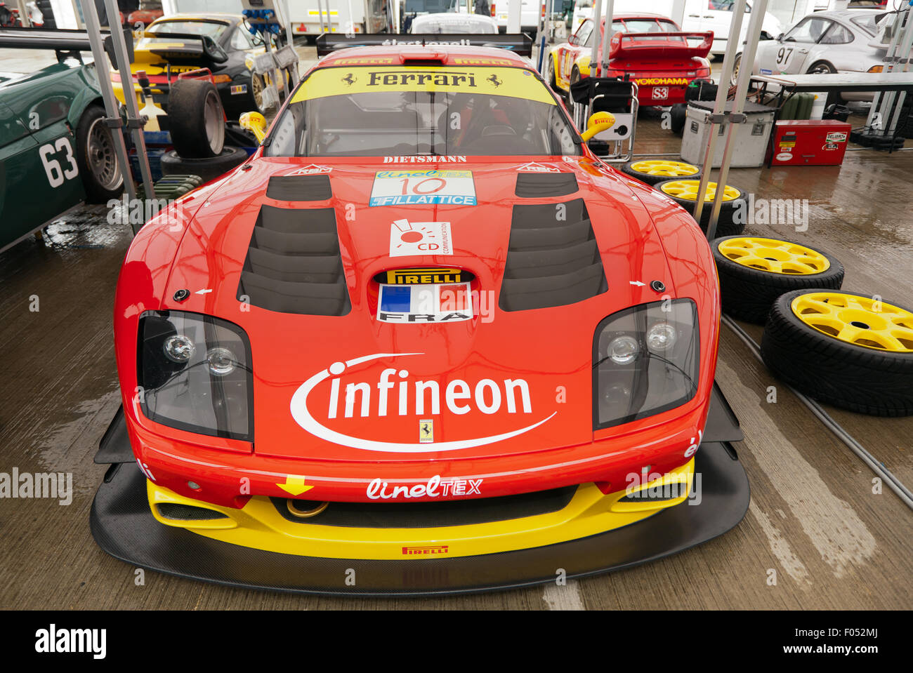A 2002, Ferrari 575 GTC race car in the National Paddock at the 2015 on