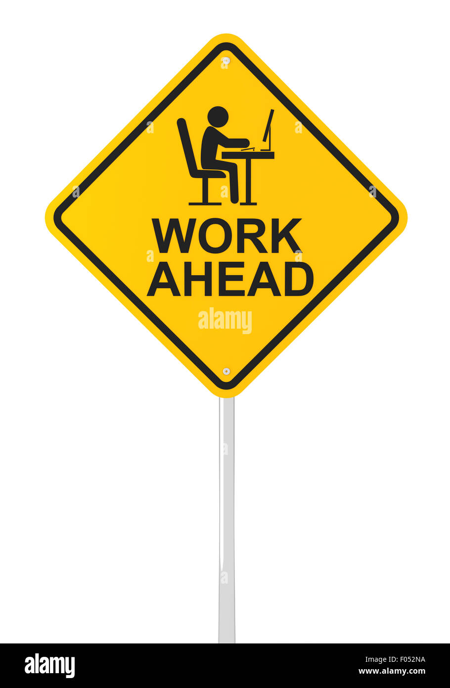 Work ahead sign - Stock Image