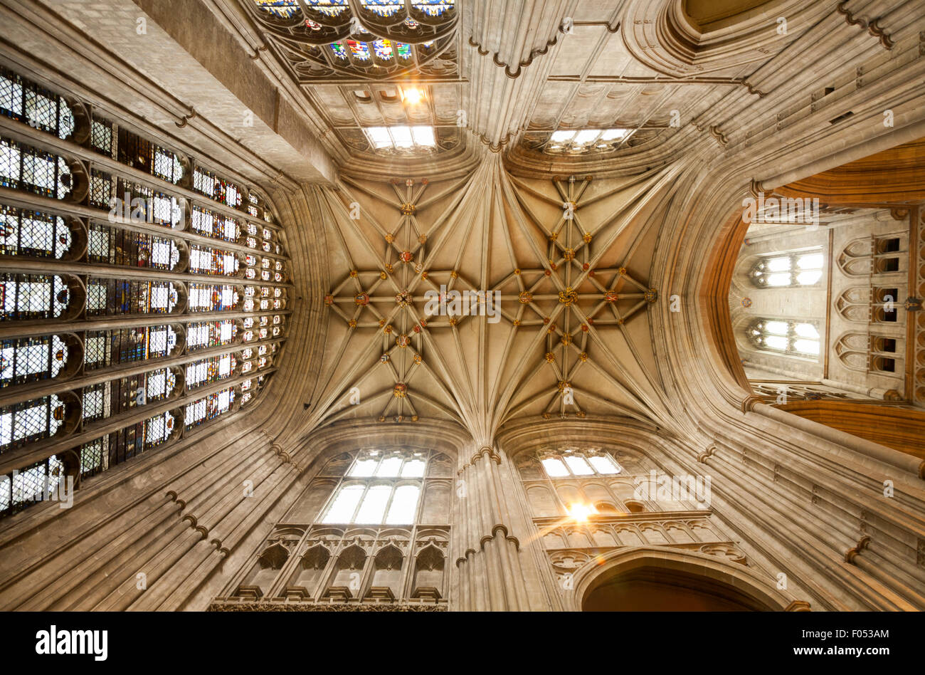 The Cathedral ceiling in area above The Martyrdom, the place where Archbishop Thomas Becket was murdered by four - Stock Image