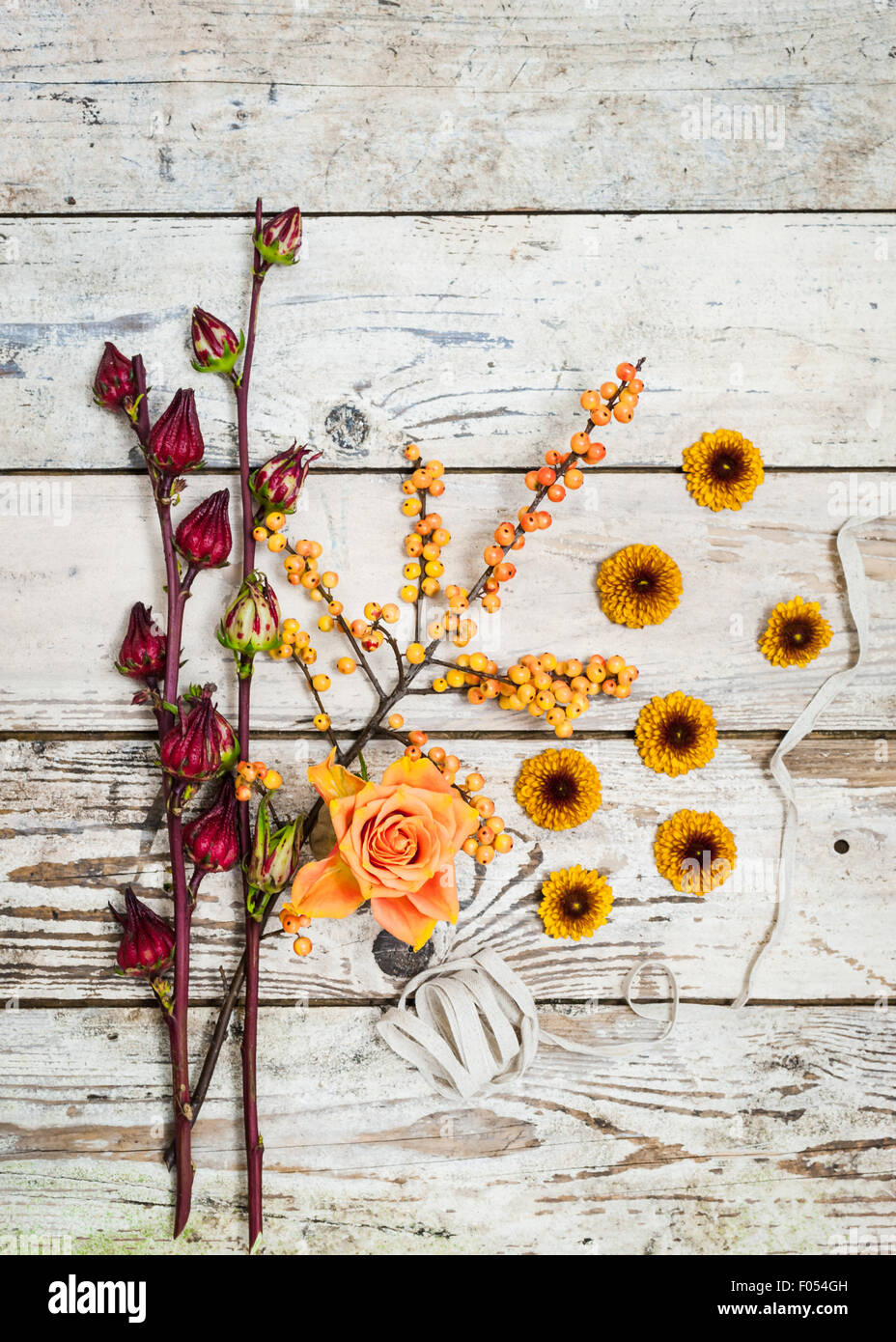 an arrangement of autumn berries and flowers in warm colours on a rustic wooden background - Stock Image