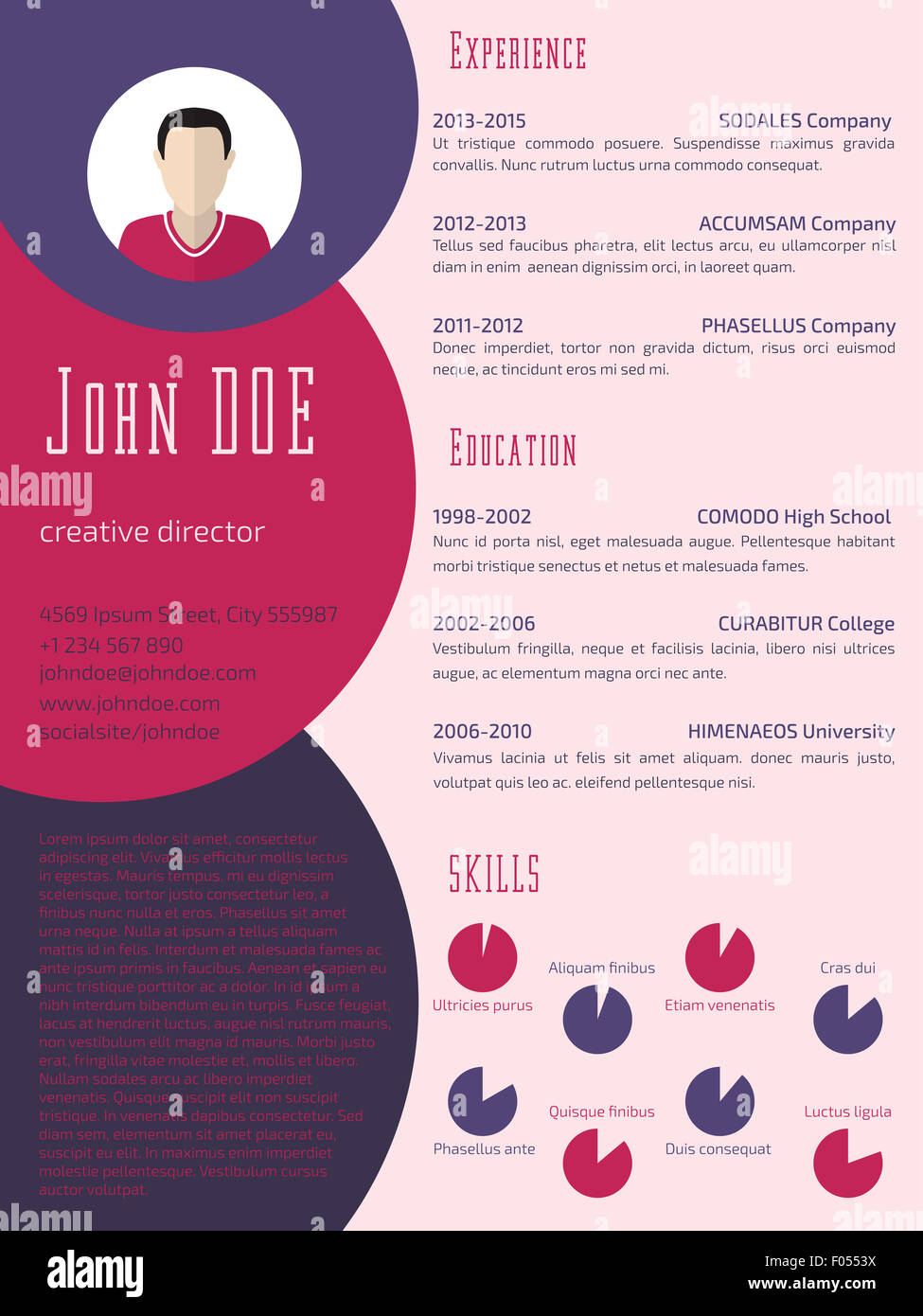 cool curriculum vitae resume design stock photos  u0026 cool
