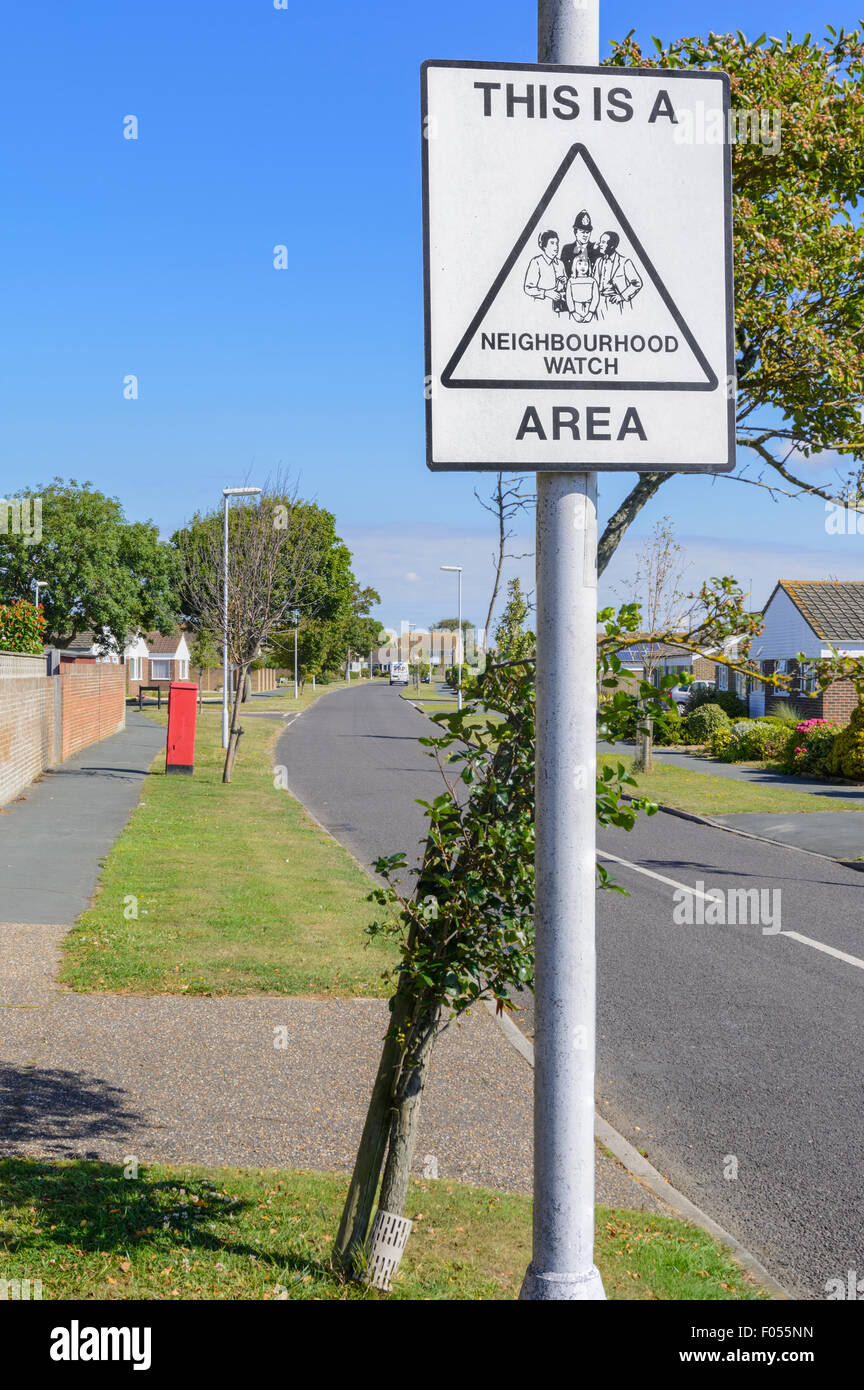 Neighbourhood Watch Area warning sign on a residential road in a town in Southern England, UK. - Stock Image