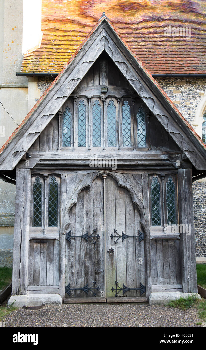 St Marys church wooden oak porch door, Hambleden, Buckinghamshire, England - Stock Image