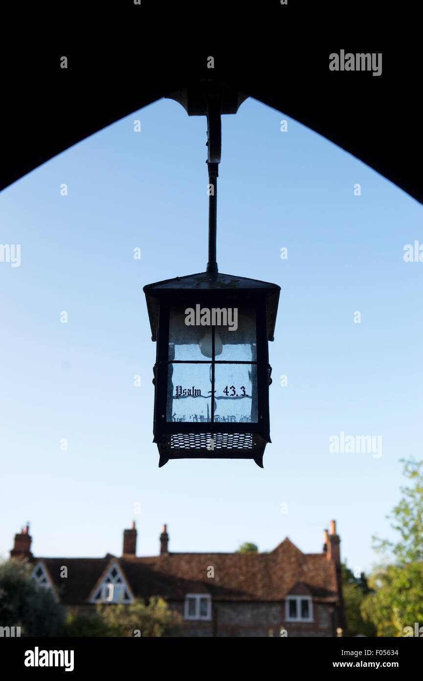 St Marys church lych gate lantern, Hambleden, Buckinghamshire, England - Stock Image