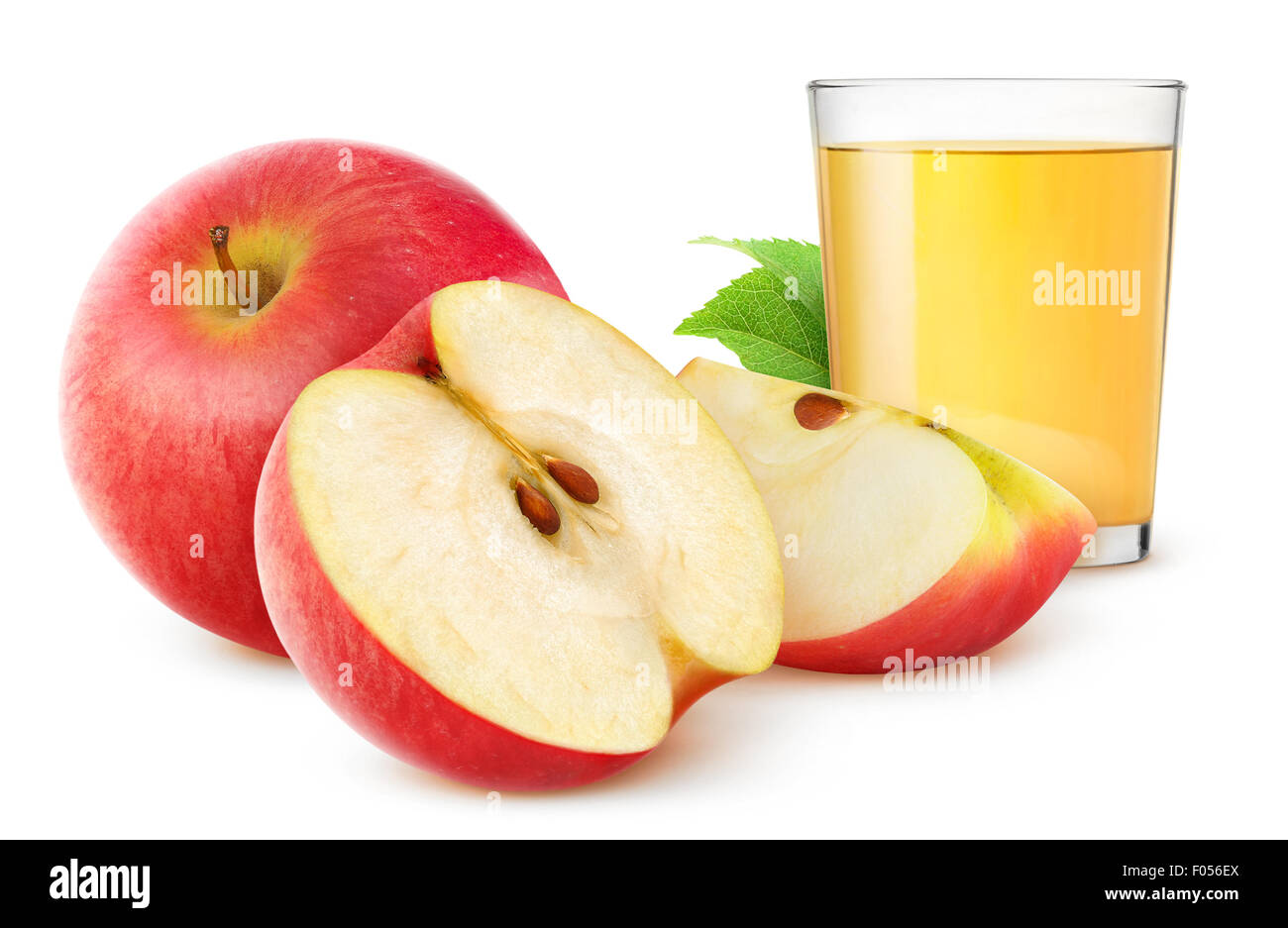 Apple juice and fresh apples isolated on white - Stock Image